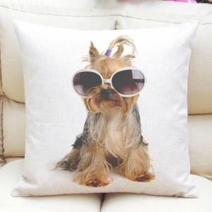 Fashion Sunglasses Puppy Pattern Square Shape Flax Pillow Case (Without Pillow Inner) - Colormix - S