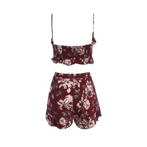 Stylish Spaghetti Straps Crop Top and Print Shorts Twinset For Women -