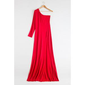 One-Shoulder Long Sleeve Slit Maxi Evening Dress