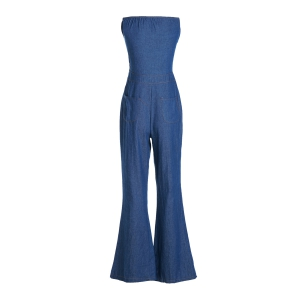 Casual Strappy Denim Wide Leg Jumpsuit For Women