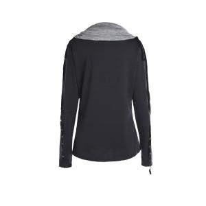 Chic Turtle Neck Long Sleeve Spliced Women's Sweatshirt -