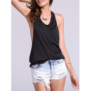 Backless Fropped Armhole Tank Top - Black - M