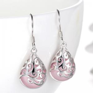 Pair of Vintage Faux Opal Water Drop Earrings - Pink