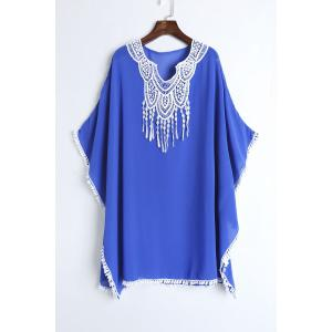 Lace Chiffon Beach Kaftan Cover Up - Blue - One Size(fit Size Xs To M)