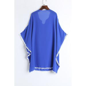 Lace Chiffon Beach Kaftan Cover Up - BLUE ONE SIZE(FIT SIZE XS TO M)