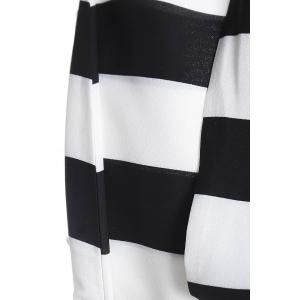 Striped Plunge Maxi Evening Prom Dress - WHITE AND BLACK S