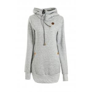 Chic Solid Color Long Sleeve Hooded Hoodie For Women