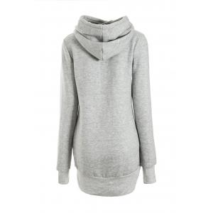 Chic Solid Color Long Sleeve Hooded Hoodie For Women - LIGHT GRAY M