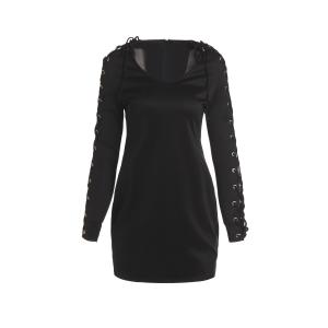 Chic V-Neck Long Sleeve Lace-Up Bodycon Dress For Women