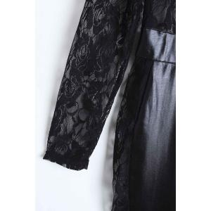 Sexy Round Neck Lace Spliced PU Leather Long Sleeve Jumpsuit For Women -