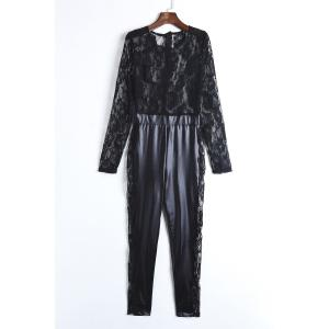 Sexy Round Neck Lace Spliced PU Leather Long Sleeve Jumpsuit For Women
