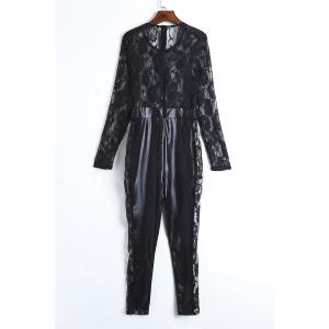 Sexy Round Neck Lace Spliced PU Leather Long Sleeve Jumpsuit For Women - BLACK XL