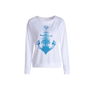 Fresh Style Anchor Printed Long Sleeve Raglan Baseball T-Shirt For Women