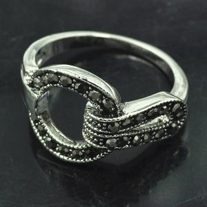 Vintage Rivet Decorated Buckle Ring - SILVER ONE-SIZE