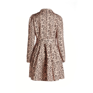 Long Sleeve Leopard Print Belted Trench Coat Dress - YELLOW S