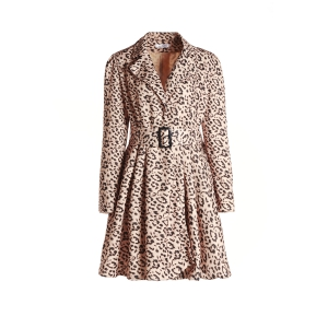 Long Sleeve Leopard Print Belted Trench Coat Dress