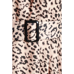 Long Sleeve Leopard Print Belted Trench Coat Dress -