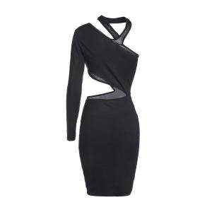 Chic One Shoulder Pure Color Cut Out Bodycon Dress For Women -