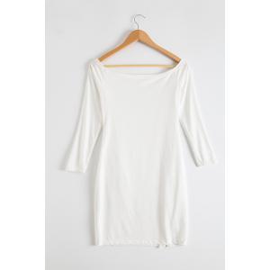 Alluring Off-The-Shoulder Long Sleeve Zippered Bodycon Women's Dress - WHITE XL