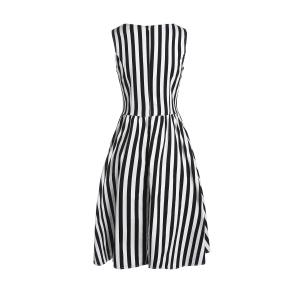 Retro Style Boat Neck Sleeveless Striped Ball Gown Dress For Women -