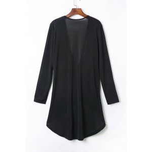 Sexy Black V-Neck Long Sleeve Pleated Asymmetric T-Shirt For Women -