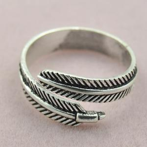 Embossed Feather Opening Ring -