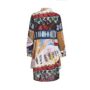 Vintage Style Shirt Collar Long Sleeve Loose-Fitting Colorful Print Shirt For Women -