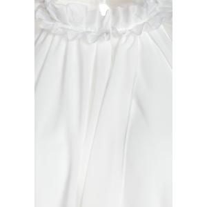 Chic Ruffled Neck Sleeveless White See-Through Chiffon Women's Dress -