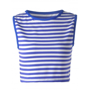 Striped Crop Tank  Top - Blue And White - Xl