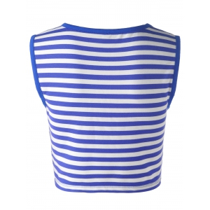 Striped Crop Tank  Top - BLUE AND WHITE S