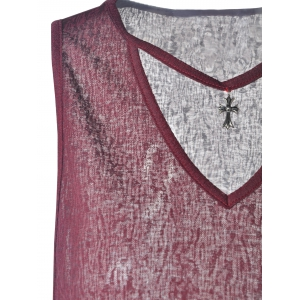 Simple Design Loose-Fitting V-Neck Cotton Blend Tees For Women - WINE RED M