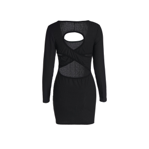 Long Sleeve Cross Bandage Dress - BLACK S