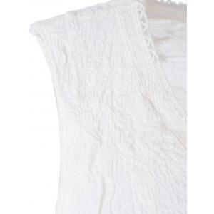 Bohemian V-Neck Lace-Up Lace Panelled Sleeveless Blouse For Women -
