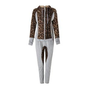 Stylish Hooded Long Sleeve Leopard Print Hoodie + Drawstring Pants Women's Twinset