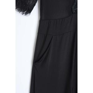 Sexy Plunging Neck Half Sleeve See-Through Lace Splicing Black Jumpsuit For Women -