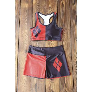 Running Color Block Racerback Top and Shorts - Red With Black - M