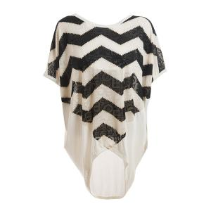 Relaxed Sawtooth Pattern Batwing Sleeve Plus Size Women's White Blouse