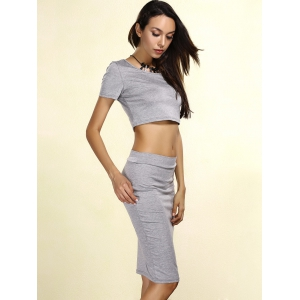 Crop Two Piece Fitted Tight Dress - GRAY S