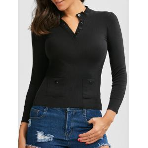 Button Up Ribbed Long Sleeve Fitted T-Shirt