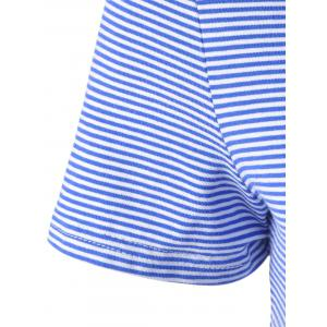 Fashionable Contracted Striped Short T For Women - BLUE AND WHITE M