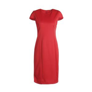 Chic Short Sleeve Red Jewel Neck Skinny Dress For Women