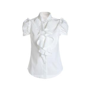 Short Sleeves Flounce Formal Shirt