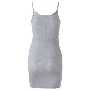 Stylish Simple Design Cut Out Sleeveless Tank Dress For Women -