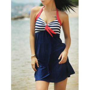Halter Sailor Swimdress Stripe Tankini Top Bathing Suit - Blue And Red - Xl