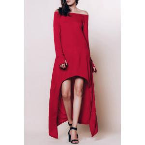 Long Sleeve Off The Shoulder High Low Maxi T-shirt Dress