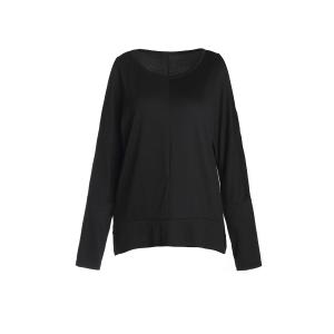 Stylish Scoop Neck Long Sleeve Side Slit Hollow Out T-Shirt For Women
