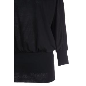 Elegant Round Neck Solid Color Batwing Sleeve Loose Fit Over Hip Women's Dress - BLACK ONE SIZE