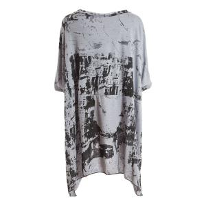Casual Scoop Neck Short Sleeve Printed Asymmetrical Chiffon Women's Blouse -
