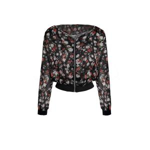 Stylish Scoop Neck Floral Print Zipper Shoulder Pad Chiffon Women's Coat - Black - One Size