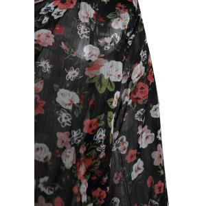 Stylish Scoop Neck Floral Print Zipper Shoulder Pad Chiffon Women's Coat - BLACK ONE SIZE